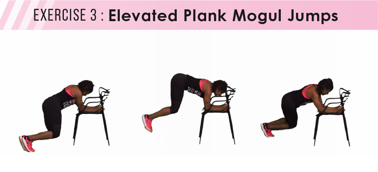 HIIT workout plan - elevated plank mogul jumps