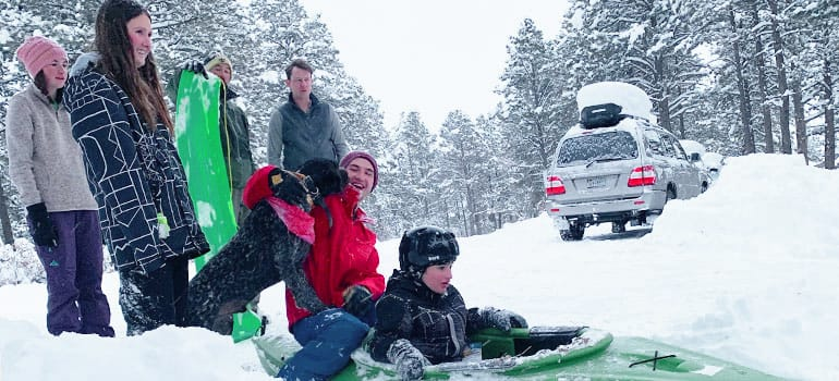 winter sledding for exercise
