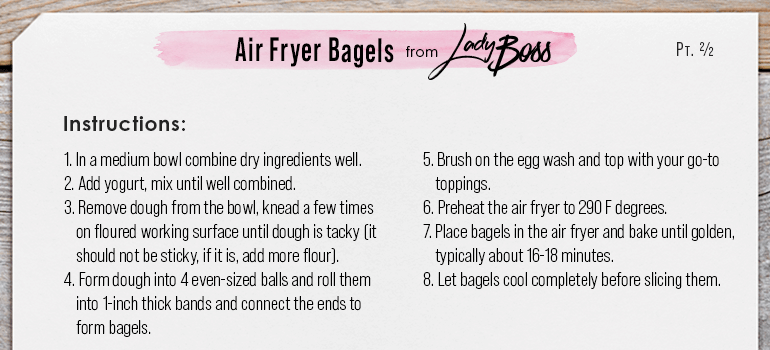 Instructions Air Fryer Bagels