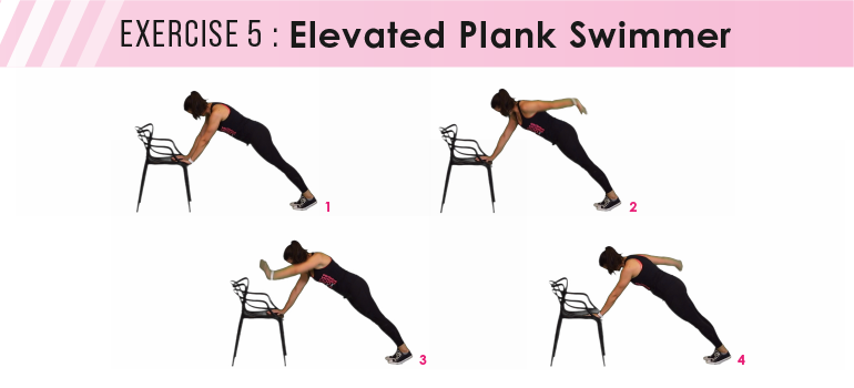 HIIT workout plan - elevated plank swimmer